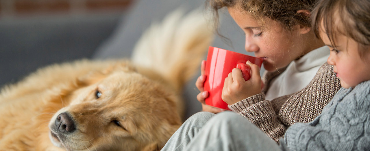 Children snuggling with dog