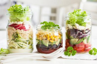 Three jars of salad